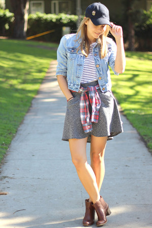 navy stripes Forever 21 shirt - dark brown ankle boots