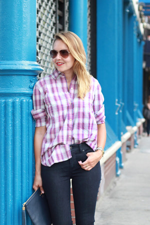 plaid madewell shirt - skinny jeans talbots jeans