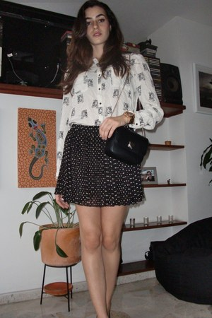 Zara purse - dotted Forever21 skirt - Versilia pumps - tiger printed Zara blouse
