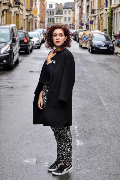 black Zara coat - black Zara sweater - black Mango pants - black Puma sneakers