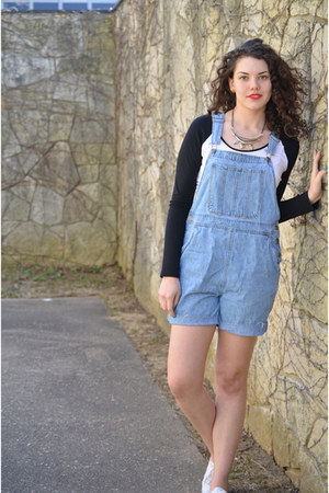 light blue overalls thrifted romper - black baseball Express top