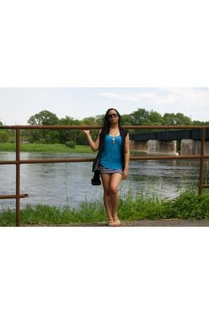 black Costa Blanca vest - bright blue Urban Planet shirt - So Celebrity skirt