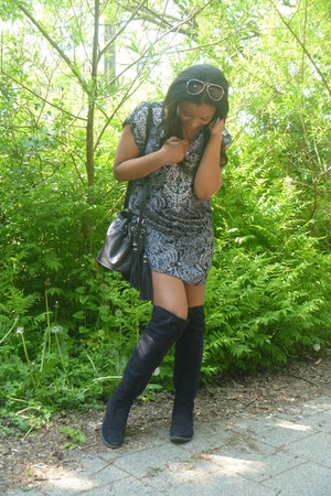 H&M dress - van haren boots - H&M bag - H&M sunglasses