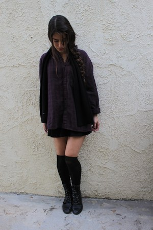 black fringe we who see boots - maroon plaid vintage shirt - black J Crew scarf