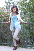 brown Jeffrey Campell shoes - gray Ruche leggings - blue knitted scarf - Kimchi