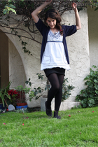 black KBell tights - black deena and ozzy shoes - Forever 21 top - black skirt -