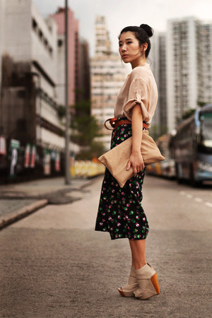 camel American Apparel bag - navy Topshop skirt - cream asos wedges - peach Tops