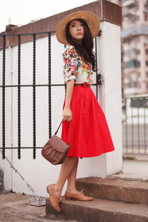 red H&M skirt - olive green Topshop hat - white Zara shirt - camel Max flats