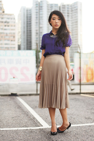 tan Topshop skirt - deep purple H&M shirt