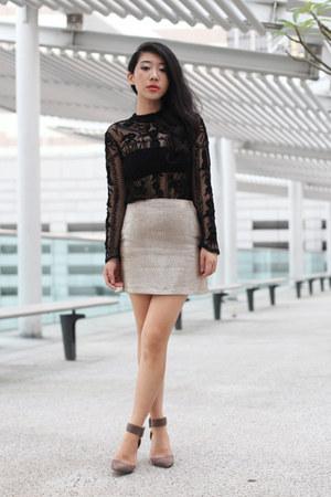 black Zara blouse - tan Topshop skirt