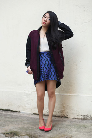 blue RIbyCARRIE skirt - crimson asos jacket