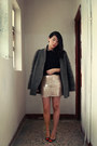 Gray-topshop-coat-light-pink-h-m-skirt-black-h-m-top