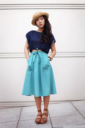 navy Topshop top - turquoise blue vintage skirt - brown Topshop sandals