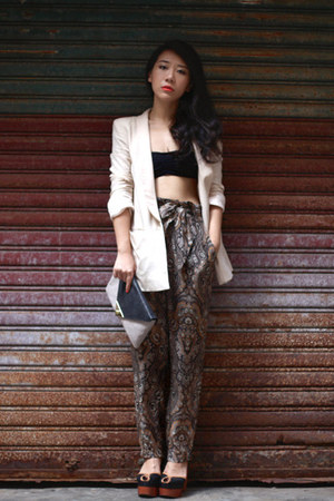 brown Zara pants - cream H&M blazer