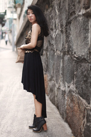 black Cheap Monday skirt - bronze asos top