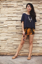 camel Max flats - gold H&M shorts - navy H&M top - silver H&M necklace