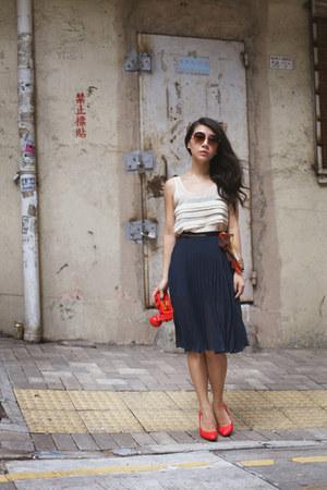 white Topshop top - navy Topshop skirt