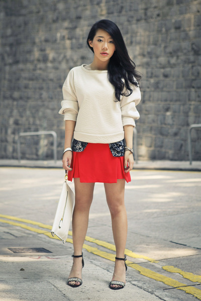 carrot orange Topshop skirt - off white Zara heels