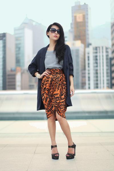 black asos sandals - gray Topshop coat - burnt orange Zara skirt