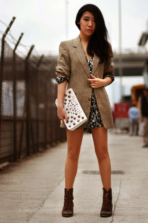 dark brown asos boots - dark khaki vintage midwest blazer - white H&M bag