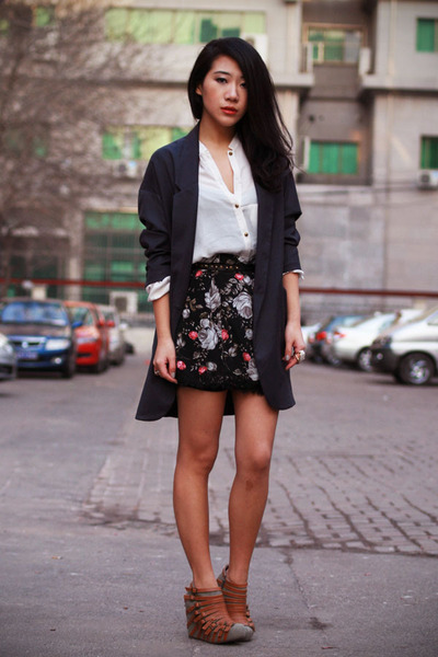 dark gray boyfriend Topshop jacket - white chiffon Zara shirt