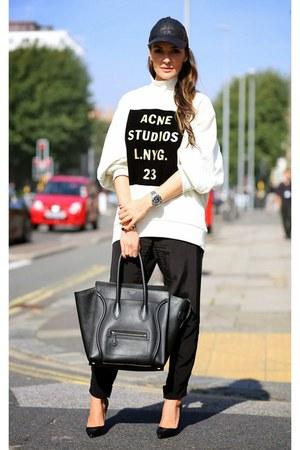 Celine bag - Zara pants - Christian Louboutin heels - acne sweatshirt