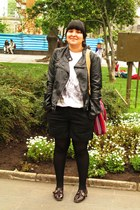 black Mossimo jacket - ivory alaniz shirt - crimson BB2 flats