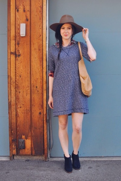 blue Gap dress - navy madewell boots - tan madewell hat