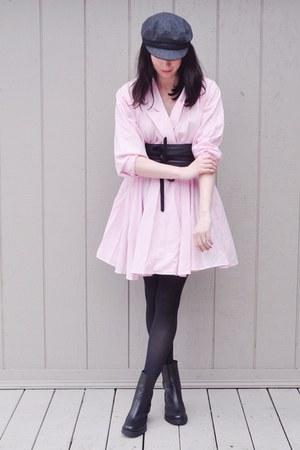 light pink vintage dress - black asos belt