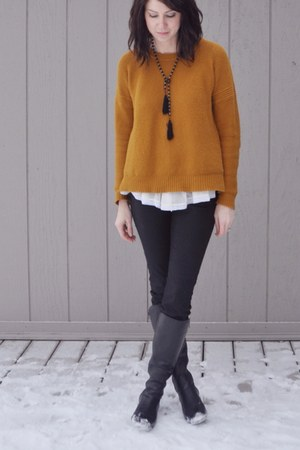 black La Canadienne boots - light orange madewell sweater