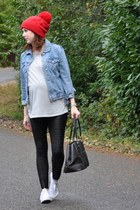 thrifted jacket - Asos Maternity leggings - Asos Maternity t-shirt