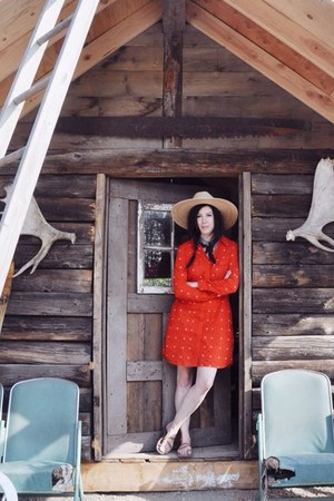 red Levis dress - neutral Tula hat - tan Chacos sandals
