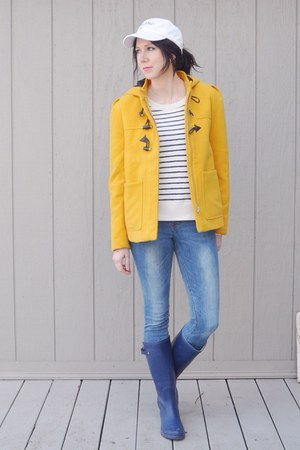 yellow thrifted coat - sky blue H&M jeans - off white merona sweater