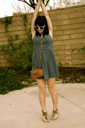 blue Urban Outfitters dress - beige thrifted purse - silver Steve Madden shoes -