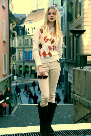 H&M sweater - brown La Redoute boots - H&M pants - white classic c&a blouse