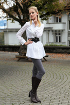 Luisa Spagnoli blouse - leather NavyBoot boots - grey Sisley leggings