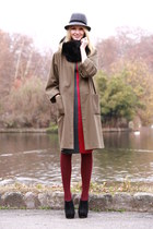 kaki vintage coat - bicolor LnA dress - grey and black H&M hat