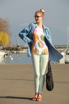mint Vero Moda leggings - jean vintage jacket - black iam bag
