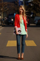 tangerine H&M blazer - basic skinny H&M jeans - spearmint H&M top