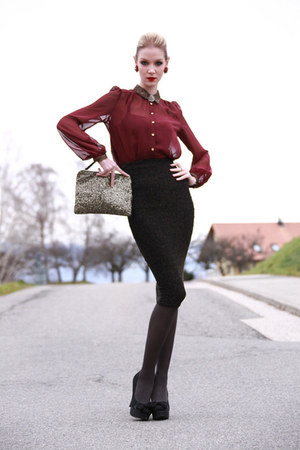 burgandy River Island blouse - sequined clutch Primark bag