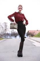 burgandy River Island blouse - sequined clutch Primark bag