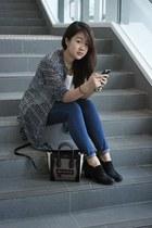 navy blouse - black ankle boots asos boots - crimson nano Celine bag