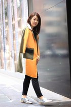 light orange cocoon coat coat - silver shoes Zara shoes