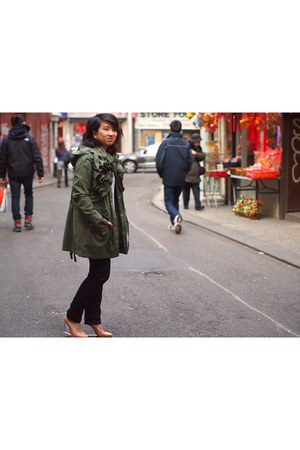 olive green Valentino x Gap coat - white Helmut Lang sweater