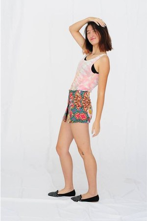 teal Bershka shorts - peach tank top Urban Outfitters top