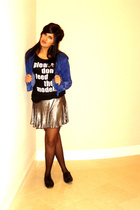 black UO shirt - silver UO skirt - black UO tights - black H&M shoes - blue UO s