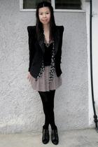 black random brand blazer - black Topshop scarf - black asos top - black Miss Se