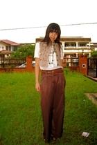 thrift blouse - Mango vest - Naf Naf pants - thrift belt - Topshop necklace - Ch