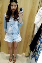 blue random from Hongkong top - blue calvin klein jeans - brown Topshop shoes