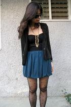black random from Bangkok cardigan - black asos top - green Forever21 skirt - bl